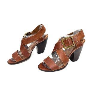 """FRYE Cognac Leather """"Amy"""" Criss Cross Sandals"""
